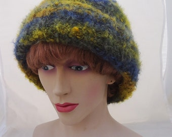 Handknitt Women Mohair Hat, Women Handknitted Beanie, Women Mohair Winter Hat, Slouchy Hat