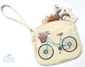 Bicycle Canvas Zip Purse, Makeup Bag, Coin Purse, Small Accessory Pouch