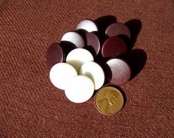 """Set of 12 Vintage Old Plastic Uniform Buttons 3/4"""" Heavy Duty 2 Colors"""