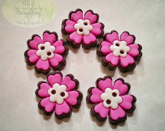 Flower Buttons Pink Black White Embellishments set of 5 Miniatures