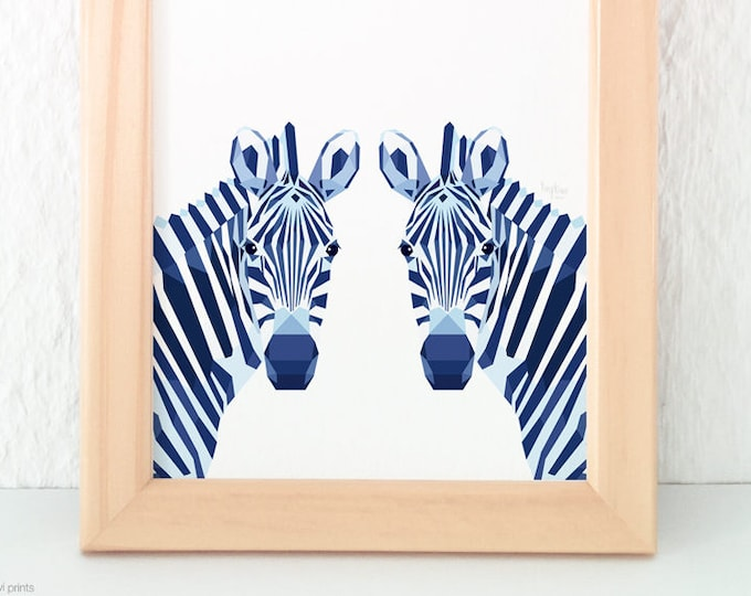 Zebra print, Zebra illustration, Safari nursery, Zebra decor, Zebra wall art, Geometric zebra, Nursery animal art, Animal pair wall art