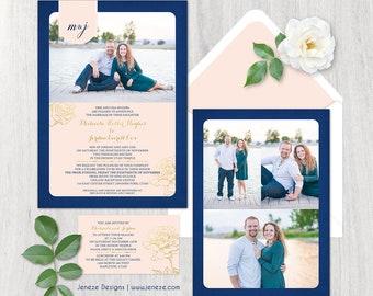 Beautiful Photo Wedding Invitation - Custom Wedding Invitation Set - flowers and photos, NEW, custom paper design, LDS Wedding, weddingpaper