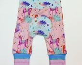 Pink Unicorns Maxaloones / Grow With Me / Unicorn Leggings / Pink Maxaloones / Baby Girl Gift / Baby Shower / Unicorns / Cloth Diaper Pants