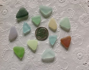 Beach Sea Glass Genuine Surf-Tumbled Jewelry-quality flawless colorful perfect triangles