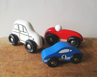3 vintage french toy cars VILAC, Wooden toy, Small cars, France 1990, Petite voiture bois, Jouet