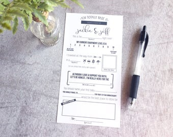 Wedding Advice Cards, Digital File, Questionnaire, Printable, Reception Wedding Table Cards