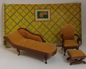 Vintage Wood Upholstered Dollhouse Furniture -- Traditional Gold Velvet Living Room / Parlor Chaise, Chair and Ottoman, May Be Sonia Messer