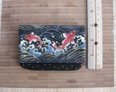 masculine Japanese Asian koi fish small handmade billfold or wallet lightweight giftcard holder