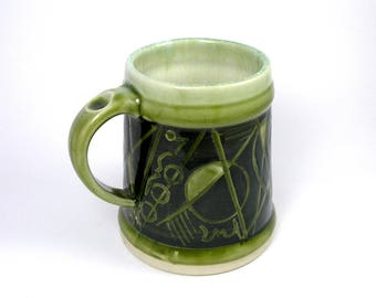 Beer Stein large mug, cup, coffee cup, tea, Kandisnky inspired Black and Green glass