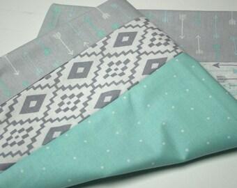 Quilt Top, Unfinished Quilt Top, Arrow Quilt, Gray and Blue, Blue and Gray, Arrow Print, Gray Blue Quilt