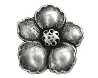 2 Hibiscus 7/8 inch ( 23 mm ) Metal Buttons Silver Color