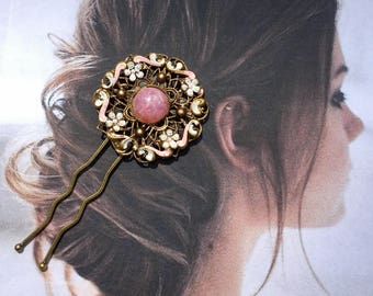 Pink White Hair Pin Vintage 1930 1940 Bridal Renaissance Fantasy Wedding Czech West Germany Filigree Jewelry