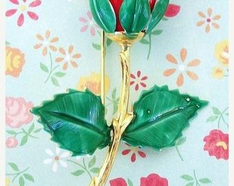 ON SALE Vintage Red Rose Enamel Brooch Gold Stem and Center Green Leaves Long Stem Red Rose Bridal Brooch Bouquet Pin