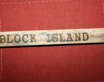 Hand Made Driftwood Wood Burned Sign, Wall Hanging, Block Island, Rhode Island, Home Decor, Cottage Chic, Beach House, beach art, upcycled