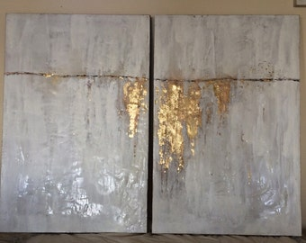 Abstract Encaustics (Wax) White & Gold Diptych
