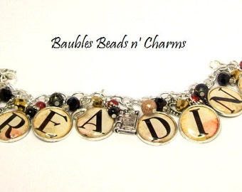 I Love Reading Charm Bracelet, Reading Jewelry, Literary Charm Bracelet, Literary Necklace, I Love Reading Necklace, Love to Read