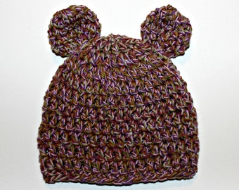 Newborn Bear Ear Hat - READY TO SHIP - purple - baby gift - boy hat - girl hat