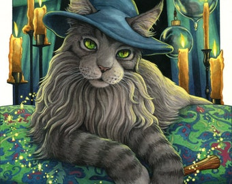 Oberon Wizard Cat Illustration 8x10