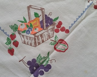 Vintage Basket Of Fruit Painted Tablecloth With Red Gingham Ric-Rac Edge, Kitchy Shabby Chic Tablecloth,Farmhouse Chic Tablecloth