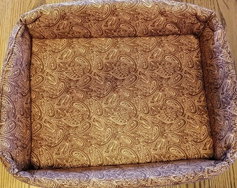 """The """"Box"""" Bed for Pets, Brown Paisley"""