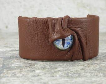 Wrist Arm Cuff Adjustable Brown Leather Wrist Band Evil Eye Burning Man