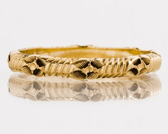Antique Wedding Band - Antique 14k Yellow Gold Etched Wedding Band