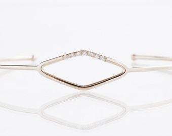Diamond Bangle - 18k White Gold Diamond Bangle Bracelet