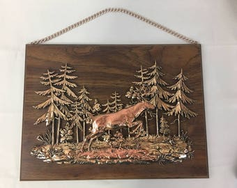 Wall Decor Metal Deer Forest Figural on Faux Wood Plaque