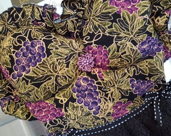 Wine and Grapes in Purples and Black Kitchen Oven Door Dish Towel Dress