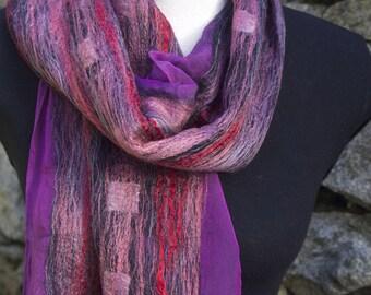Violet. Plum. Lilac. Claret. Nuno Felted Shawl. Iridescent Silk. Merino Wool.