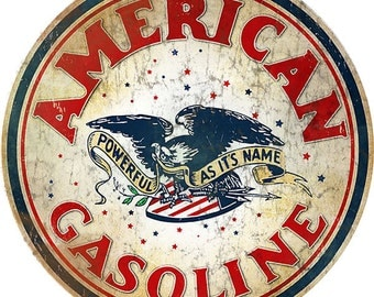 """AMERICAN GASOLINE STATION! Motor Oil Sign. Classic 14"""" X 14"""" Round .040  Aluminum Sign"""