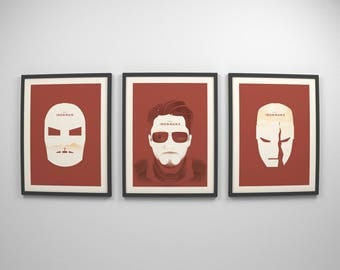 Marvel Gift ~ Iron Man Trilogy, Movie Posters, Film Gift, Art Printss by Christopher Conner