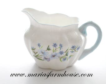 Vintage English Bone China Creamer by Shelley, Blue Rock Pattern, Replacement China