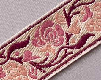"Pale Rose & Shades of Pink On Jacquard Sewing Trim Art Nouvea 3 yards 1.25 "" wide"