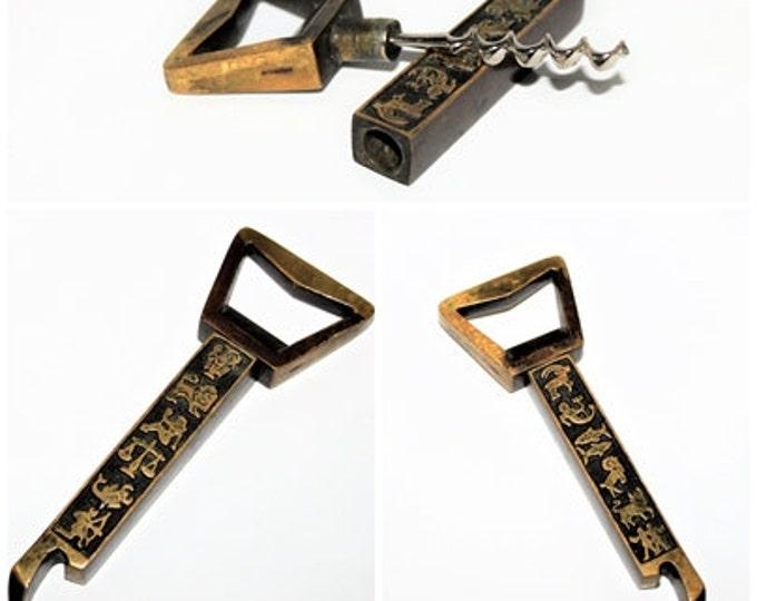 Vintage  Mid-Century 1960s  Brass Zodiac Corkscrew and Bottle Opener