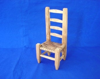 Ladderback Doll Chair with Woven Seat