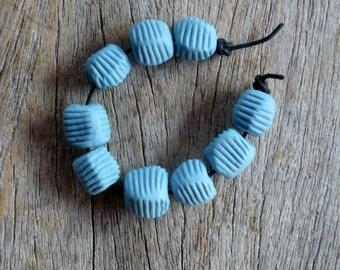 Blue Pebble Beads,Striped  Beads,  Artisan Bead Set,  Jewelry Supplies
