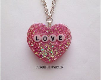 Love Resin Charm Necklace