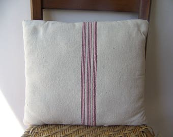 Primitive Farmhouse Feedsack Fabric Cream With Red Stripe Rustic Pillow