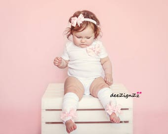 Baby Bow Outfit, Pink, Polka Dot Bow, 1st Birthday, First Birthday, Cake Smash, Photo,Baby Girl, toddler, Onesie, Leg Warmers, Bow Headband,