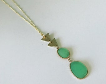Long Druzy Triangle Necklace // Druzy Necklace // Long Druzy Statement Necklace