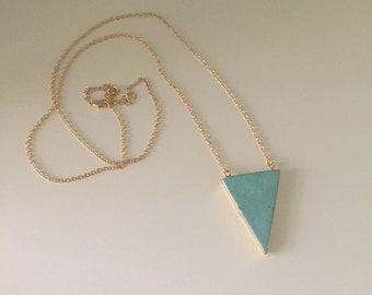 Turquoise Howlite Triangle Necklace // Long Triangle Statement Necklace