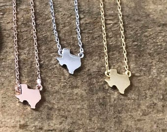 Teeny Tiny Texas Necklace // Gold Rose Gold or Silver Plated Texas Necklace // State Necklace // Lone Star Necklace