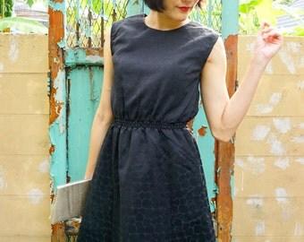 Sale Vintage Dress/ 1980s Dress/ Vintage Japanese Dress/ Vintage Women Dress/ Vintage Black Dress / Retro Dress/ Little Black Dress