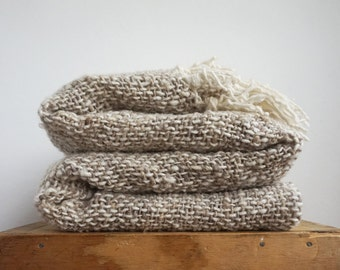 Beige Grey sheep handwoven blanket wrap, Throw blanket by TexturableDecor