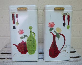 Vintage RANSBURG CANISTER SET of 2: Pitcher, Jug & Teapot Motifs with Flowers- Hand Painted Kitchen Storage