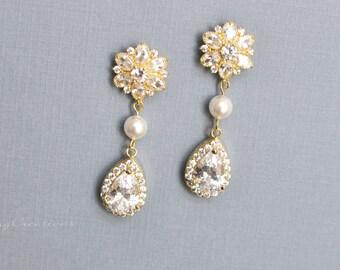 Gold Cystal Bridal Earrings, Crystal and Swarovski Pearl Stud Wedding Earrings, Pearl Drop Earrings, Jewelry, peardrop Swarovski GRACE