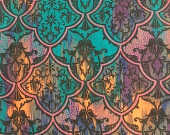 Purple And Turquoise SCALLOP FLORAL Fabric