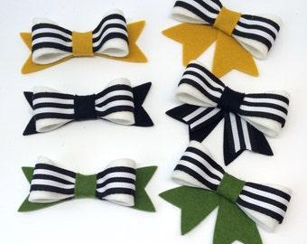 M2M Matilda Jane, Striped Bow, Black, White, Mustard, Green, Hairbows,  Toddler Hair Accessory HC1284