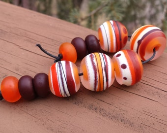 Lampwork Bead set Rounds in warm oranges and browns